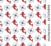 nautical seamless pattern with... | Shutterstock .eps vector #667654846