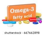 vitamin omega 3 concept  3d... | Shutterstock . vector #667662898