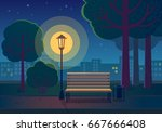 summer night in the park.... | Shutterstock .eps vector #667666408