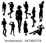 black set of women making a... | Shutterstock .eps vector #667681576