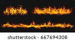 set of horizontal long fire... | Shutterstock .eps vector #667694308