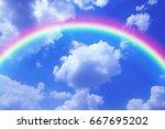 rainbow sky | Shutterstock . vector #667695202