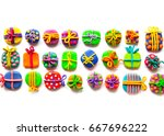 many small gifts from plasticine | Shutterstock . vector #667696222
