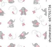 cute cartoon elephants and... | Shutterstock .eps vector #667701736