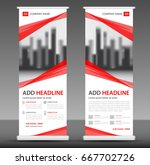 red roll up banner stand... | Shutterstock .eps vector #667702726