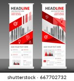 red roll up banner stand... | Shutterstock .eps vector #667702732