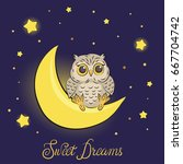 cute cartoon owl on the moon.... | Shutterstock .eps vector #667704742