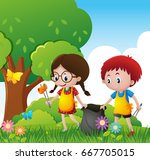 boy and girl cleaning up the... | Shutterstock .eps vector #667705015