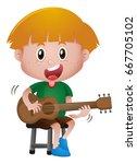 little boy playing guitar...   Shutterstock .eps vector #667705102