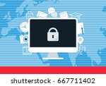 ransomware blocking access to... | Shutterstock .eps vector #667711402