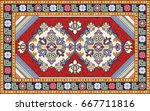 colorful mosaic oriental rug... | Shutterstock .eps vector #667711816
