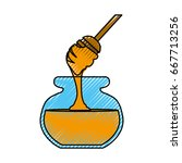 pitcher honey cartoon | Shutterstock .eps vector #667713256