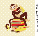 cute cartoon monkey. vector... | Shutterstock .eps vector #667716586