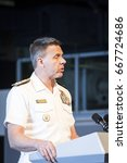 Small photo of Admiral Philip Davidson, Commander US Fleet Forces Command, speaks at the annual Memorial Day Observance ceremony on the Intrepid Sea, Air & Space Museum in Manhattan. Fleet Week NEW YORK MAY 29 2017.