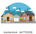 colorful houses in neighborhood  | Shutterstock .eps vector #667725328
