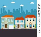 colorful houses in neighborhood  | Shutterstock .eps vector #667725358