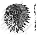 indian skull vector... | Shutterstock .eps vector #667725796