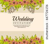vintage wedding invitation with ... | Shutterstock .eps vector #667726156
