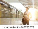 asian businessman using digital ... | Shutterstock . vector #667729072