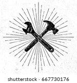 vintage hammer and spanner... | Shutterstock . vector #667730176