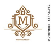monogram logo template with...   Shutterstock .eps vector #667731952