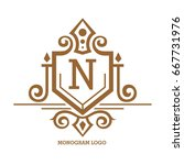 monogram logo template with...   Shutterstock .eps vector #667731976