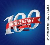 100 years anniversary... | Shutterstock .eps vector #667741366