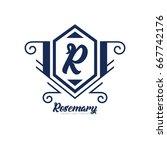 monogram logo template with...   Shutterstock .eps vector #667742176