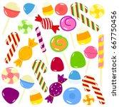 set of cartoon sweet candies... | Shutterstock .eps vector #667750456