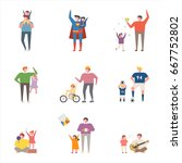 father and children character... | Shutterstock .eps vector #667752802