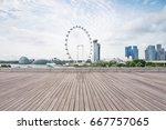 empty wooden sidewalk with... | Shutterstock . vector #667757065