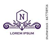 monogram logo template with...   Shutterstock .eps vector #667758916