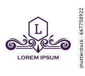 monogram logo template with...   Shutterstock .eps vector #667758922