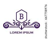 monogram logo template with...   Shutterstock .eps vector #667758976