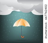 orange umbrella with rain.... | Shutterstock .eps vector #667762402