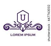 monogram logo template with...   Shutterstock .eps vector #667763032
