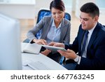 businessman sharing his idea on ... | Shutterstock . vector #667763245