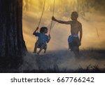 portrait of happy rural asian