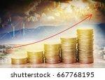 double exposure of financial... | Shutterstock . vector #667768195