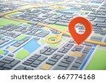 3d map of city with navigator... | Shutterstock . vector #667774168