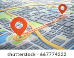3d map of city with navigator... | Shutterstock . vector #667774222