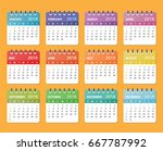 calendar for 2018 starts sunday | Shutterstock .eps vector #667787992