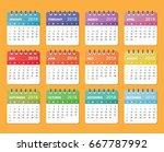 calendar for 2018 starts sunday | Shutterstock .eps vector #667787992