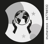 globe icon. two opened hands... | Shutterstock .eps vector #667788532