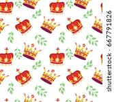 seamless pattern with gold and... | Shutterstock .eps vector #667791826