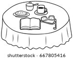 things on the coffee table... | Shutterstock .eps vector #667805416