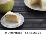 coconut cream cake with coconut ... | Shutterstock . vector #667815196