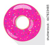 pink pool float  ring floating. ... | Shutterstock .eps vector #667823485