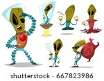 funny green alien vector... | Shutterstock .eps vector #667823986