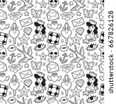 old school seamless pattern... | Shutterstock .eps vector #667826128